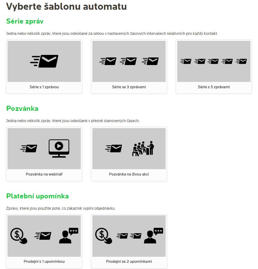 Přehled některých vytvořených šablon automatů