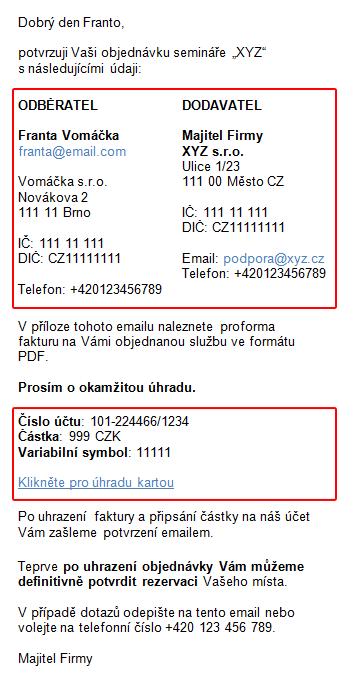 Příklad emailu s potvrzením objednávky